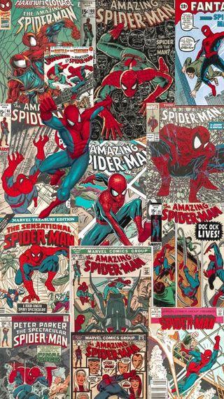 Обои на телефон коллаж, человек паук, марвел, комиксы, marvel