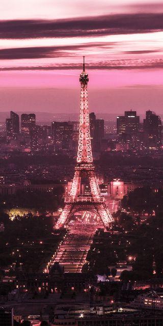 Обои на телефон франция, париж, розовые, пейзаж, башня