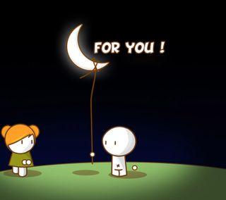 Обои на телефон я, ты, милые, любовь, луна, love for you, love