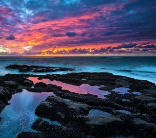 Обои на телефон эпичные, природа, пляж, пейзаж, океан, камни, закат, epic sunset