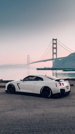 Обои на телефон ниссан, суперкары, спортивные, мост, машины, закат, вид, белые, америка, nissan, gtr with a view, gtr