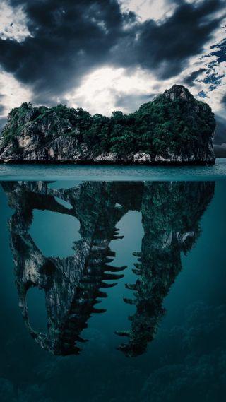 Обои на телефон глубокие, остров, динозавр, вниз, down deep, dinosaur island