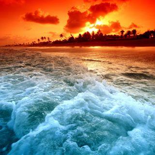 Обои на телефон волна, пляж, океан, море, закат, волны, sunset waves