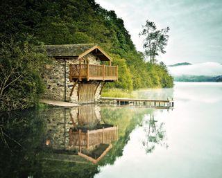 Обои на телефон джунгли, природа, пейзаж, озеро, лес, дом, landscape house