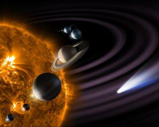 Обои на телефон солнечный, солнце, система, планета, космос, звезда, comet