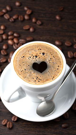 Обои на телефон кофе, сердце, зерна, ove, coffee beans