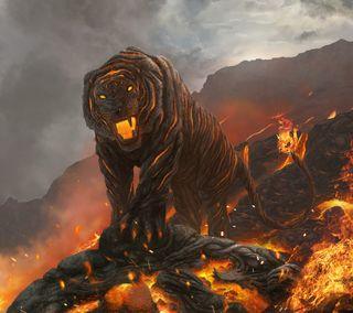 Обои на телефон тигр, огонь, лава, вулкан