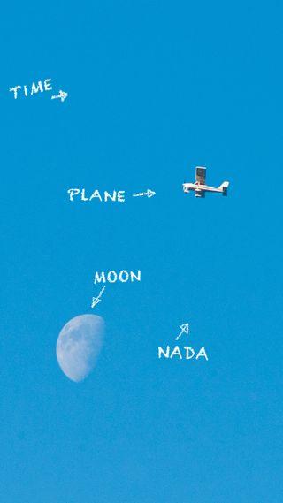 Обои на телефон поэзия, синие, самолет, небо, луна, nada