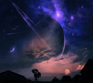 Обои на телефон планеты, облака, ночь, небо, луна, космос, земля, звезды, деревья, spaced out