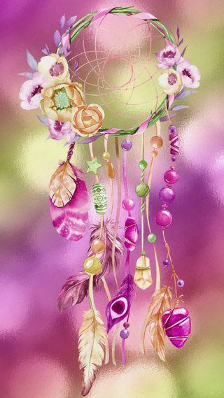 Обои на телефон ловец снов, цветы, фиолетовые, перо, мечта, красочные, звезда, дизайн