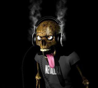 Обои на телефон череп, наушники, металлика, забавные, metallika, funny skull