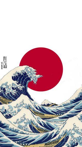 Обои на телефон японские, волна, флаг