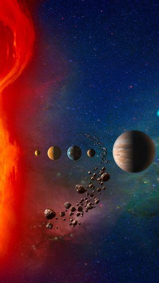 Обои на телефон планеты, ночь, космос, вселенная