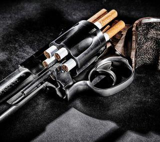 Обои на телефон сигареты, пистолет, оружие, кольт, revolver