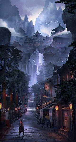 Обои на телефон замок, горы, аниме, land