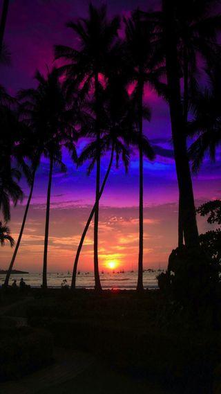 Обои на телефон естественные, пляж, закат, aura sunset