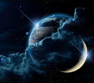 Обои на телефон планета, небо, луна, космос, земля, звезда, earth and moon