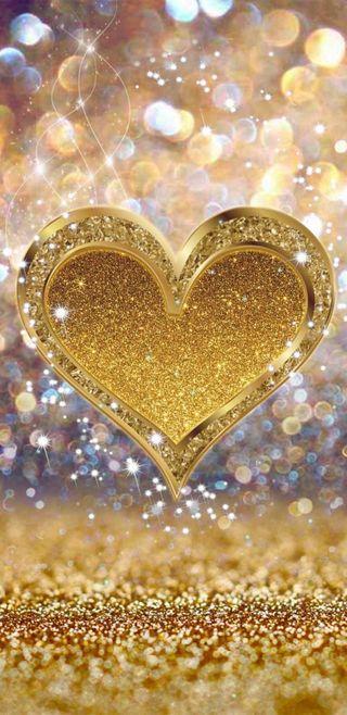 Обои на телефон серебряные, сердце, сверкающие, золотые, блестящие