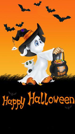 Обои на телефон ghost, pumkin, оранжевые, хэллоуин, призрак, летучая мышь, угощение, обманывать