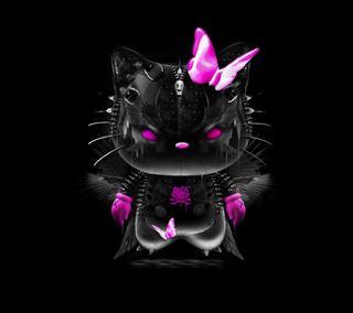 Обои на телефон привет, темные, котята, hello kitty dark