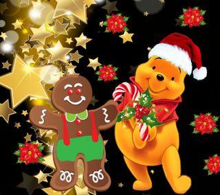 Обои на телефон пух, счастливое, рождество, мультики, винни, winnie pooh, 1440x1280px