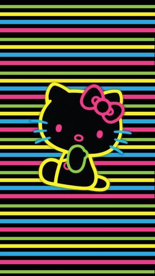 Обои на телефон привет, неоновые, котята, neon kitty