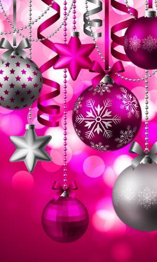 Обои на телефон шары, украшение, фон, розовые, рождество, декор, абстрактные, christmas decor, abstract pink