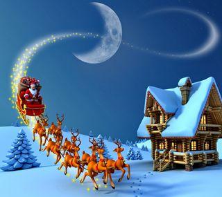 Обои на телефон санта, снег, рождество, праздник, ночь, новый, зима, christmas night