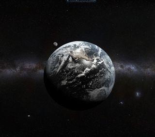 Обои на телефон планета, темные, ракета, млечный путь, луна, крутые, космос, земля, planet earth