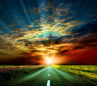 Обои на телефон солнце, природа, небо, закат, дорога