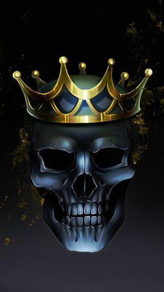 Обои на телефон рисунки, череп, корона, король, золотые, golden crown