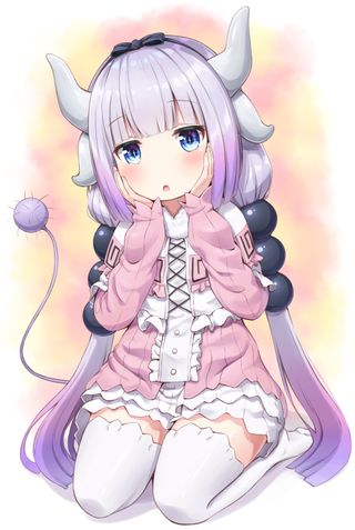 Обои на телефон каваи, фиолетовые, милые, лоли, дракон, девушки, волосы, аниме, purple hair, kanna, kamui, dragon, creepyloli, blushing