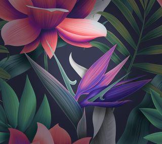 Обои на телефон матовые, цветы, хуавей, фиолетовые, стена, стандартные, розовые, зеленые, mate 10, huawei mate 10