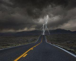 Обои на телефон удар, молния, roadside, colorado
