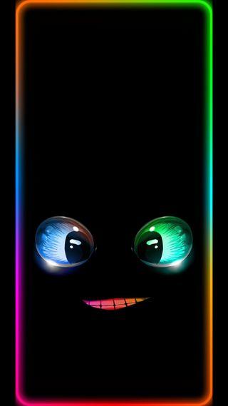 Обои на телефон черные, красочные, забавные, мультфильмы, грани, глаза, рот