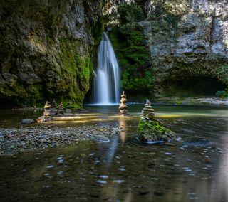 Обои на телефон японские, спокойствие, спокойные, сад, живописные, дзен, водопад, природа, пейзаж