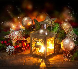 Обои на телефон фонарь, украшение, рождество, ночь, новый