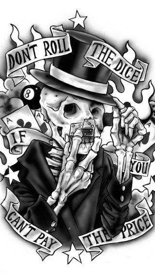 Обои на телефон не, тату, скелет, игральные кости, арт, price, dont roll the dice, art