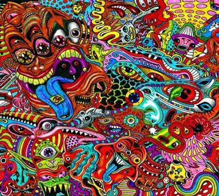 Обои на телефон цветные, монстры, картина, красочные, дракон, арт, art