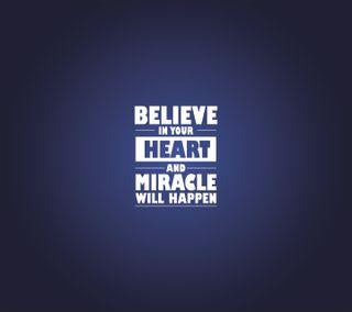 Обои на телефон типография, верить, текст, твой, слышать, синие, сердце, дизайн, белые, miracle, believe in your hear