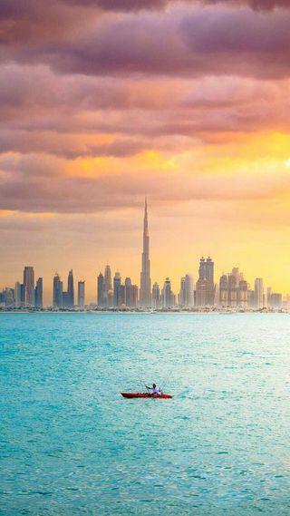 Обои на телефон дубай, прекрасные, оаэ, море, город, вид, бурдж, burj khalifa