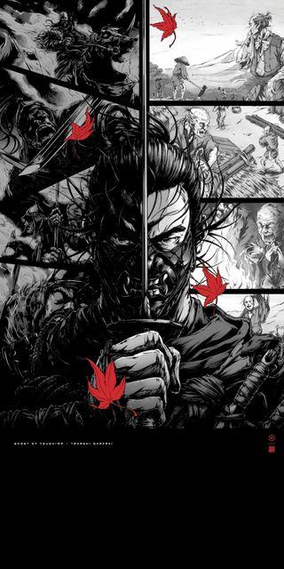 Обои на телефон самурай, фантазия, призрак, меч, маска, игра, ghost of tsushima