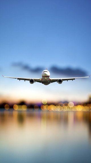 Обои на телефон сумерки, самолет, закат, вечер, late, landing