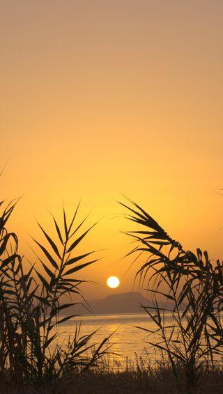 Обои на телефон силуэт, греция, пляж, остров, море, закат, sunset over crete, crete