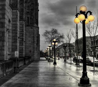 Обои на телефон мокрые, улица, темные, свет, облака, ночь, машины, дождь, uhd, gloomy, 4k