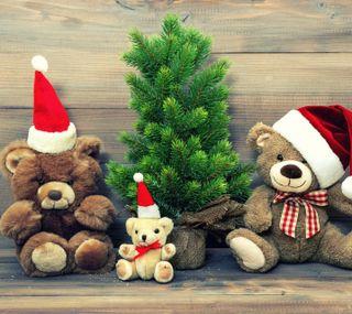 Обои на телефон тедди, медведи, рождество, дерево, teddy bears