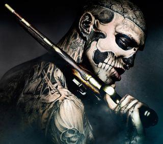 Обои на телефон голливуд, череп, тату, страшные, рисунки, оружие, зомби, дизайн, rico the zombie