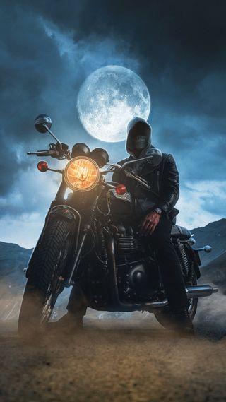 Обои на телефон байкер, череп, человек, свет, ночь, мотоциклы, луна, байк, motor, hd