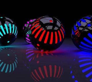 Обои на телефон шары, неоновые, xs, neon balls, hu