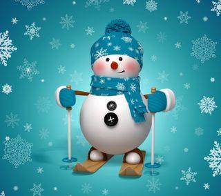 Обои на телефон счастливое, снежинки, снеговик, рождество, милые, зима, 3д, 3d